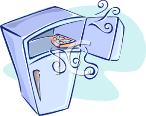 0511-1009-2817-0341_Cartoon_Refrigerator_with_Ice_in_the_Freezer_Section_clipart_image
